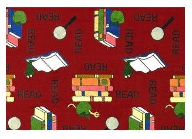 Bookworm Red - 2'x3' Custom Stainmaster Premium Nylon Carpet Area Rug ~ Bound Finished Edges