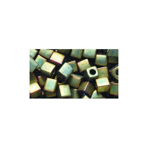 - Miyuki Seed Cube Bead SB4-2035, 4 by 4mm, Metallic Khaki Iris Matte, 25-Gram/Pack