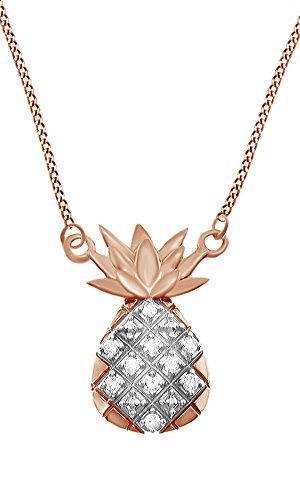 Jewel Zone US 10k Rose Solid Gold White Natural Diamond Pineapple Pendant Necklace (0.1 Cttw)