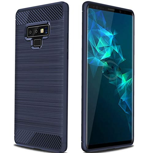 Samsung Galaxy Note 9 Case, Ultra Slim Shock Resistant Carbon Fiber Wire Drawing Soft TPU Protective Phone Case for Samsung Galaxy Note 9 (Blue)