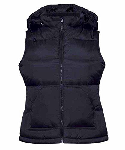 B & C–Bodywarmer Zen Women–chaleco plumífero Anorak sin mangas con capucha–�?20–�?2–mujer azul marino