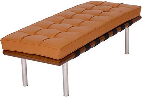 Barcelona Bench in Top Italian Leather and High Density Cushion (52 in, Light Brown Leather, Light Walnut Frame)