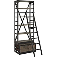 Modway Velocity Industrial Modern Wood and Cast Iron Bookshelf in Brown