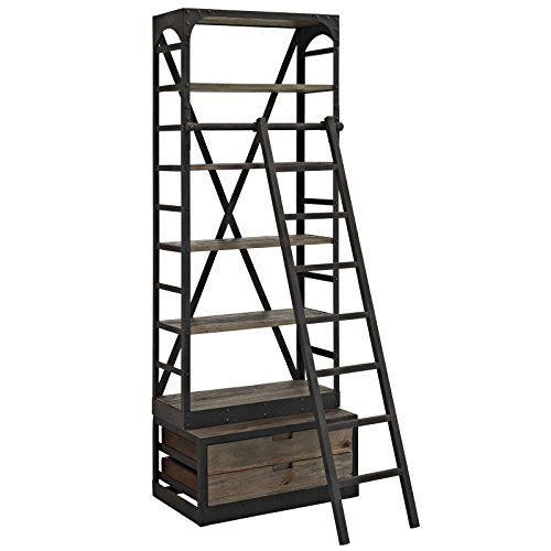 Modway EEI-1211-BRN-SET Velocity Wood Bookshelf, Brown (Library Shelves With Ladder)