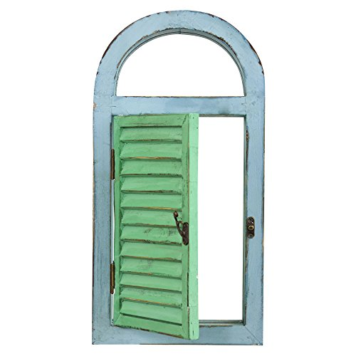 Nearly Natural 7024 Vintage Window Shutter & Mirror Wall - Teal Mirror