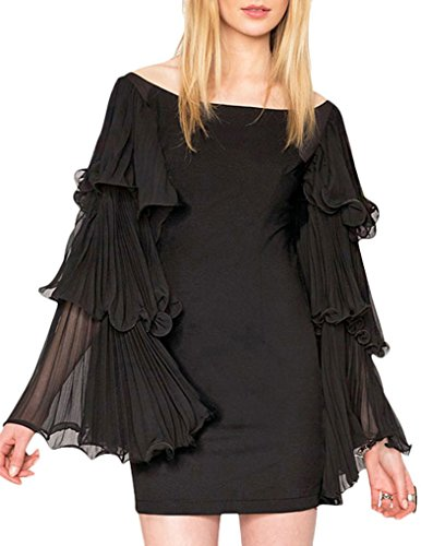 JOLLYCHIC Women's Ruffle Sleeve Solid Slash Neck Ladies Mini Dress Size 8 US Black