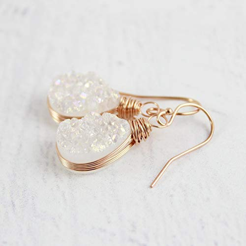 (White Druzy Rose Gold Filled Teardrop Earrings)