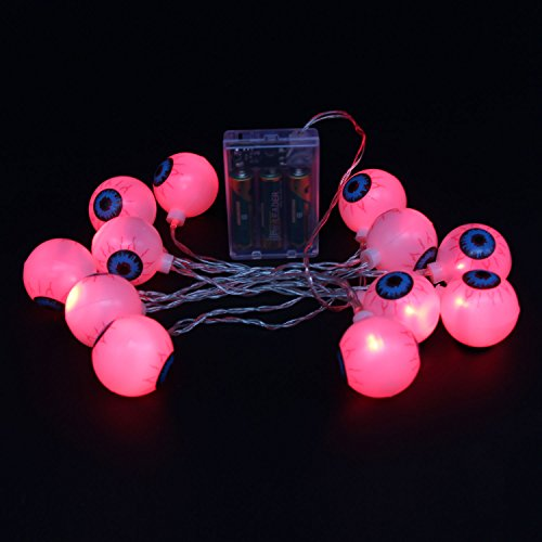 (Xcellent Global Halloween Eyeball String Light 20 LEDs 7.2ft Battery Powered for Indoor Halloween Parties & Home Decorations)