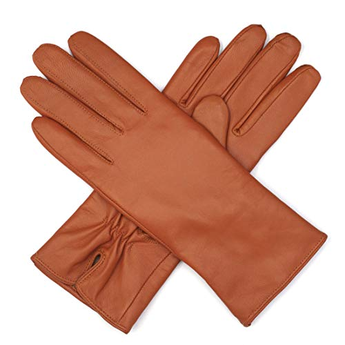 Harssidanzar Womens Luxury Italian Nappa Leather Gloves Vintage Finished Cashmere Lined, Tan, ()