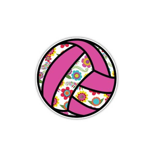 Volleyball Sticker Pink Floral Sport Ball Decal by Megan J Designs - Laptop Sticker Tumbler Car Decal Vinyl - Volleyball Laptop Skin