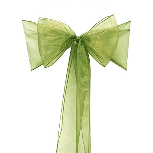 - Kwong Wah 25 pcs Organza Chair Sashes Bows Wedding Use Decoration Events Banquet (Oliver Green)