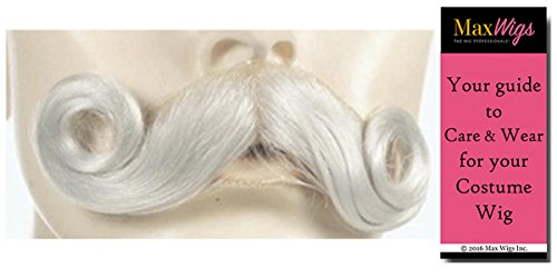 Santa Mustache 004 White - Lacey Wigs Claus Human Hair Yak Kris Kringle Christmas Bundle MaxWigs Costume Wig Care Guide