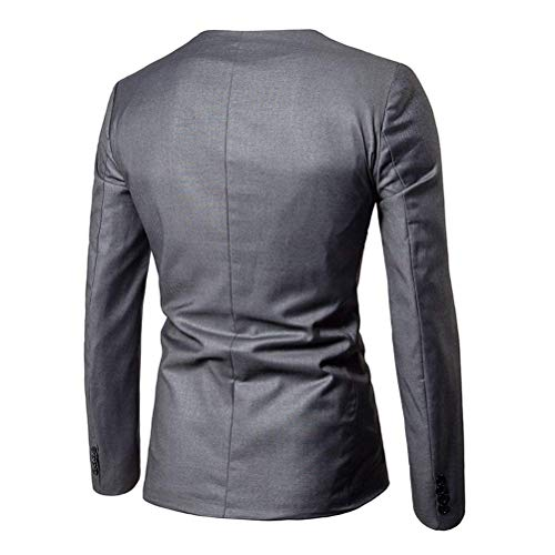 Un Suave Negro Hombres Slim Largo Casual Blazer Chaqueta Fit Elegante Modernas Negocios Botón Oficina Capa Formal Gris qw7wxZnE
