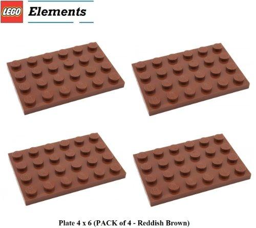 Lego Parts: Plate 4 x 6 (PACK of 4 - Reddish (Lego Spongebob Rocket)