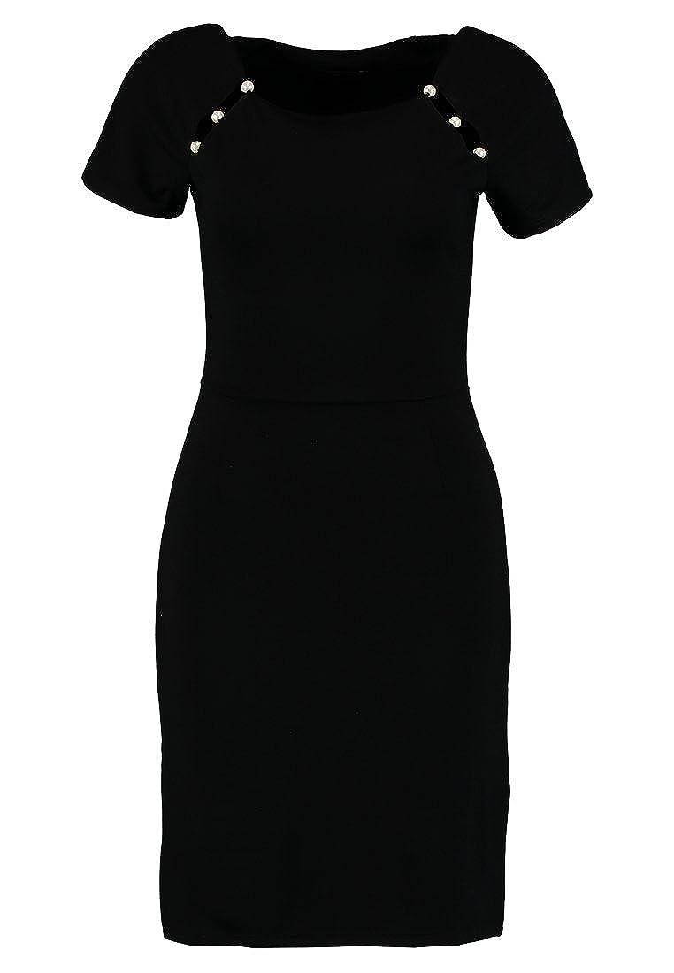 Anna Field Etuikleid für Damen in Schwarz mit Perlen am Carree Ausschnitt - Kleines Schwarzes Kleid elegant - Cocktailkleid kurz aus softem Jersey