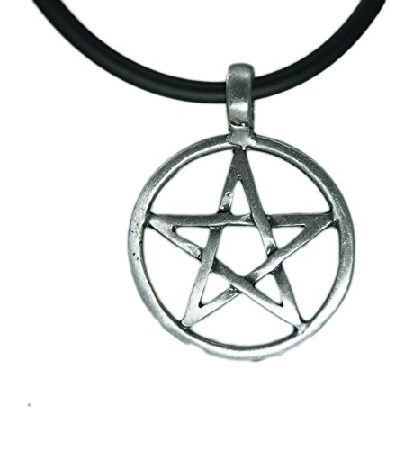 Exoticdream Star Pentagram Pentacle Pagan Wiccan Witch Gothic Pewter Pendant + 18