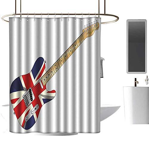 Mannwarehouse Union Jack Kids Bathroom Shower Curtain Classical Electric Guitar UK Flag Great Britain Music Instrument Bath Shower Curtain W72 ()