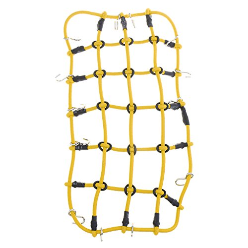 18th Scale Yellow (Jili Online Rubber Luggage Net Cargo Hook for 1/10 1/18 Traxxas TRX-4 D90 RC Car Yellow)