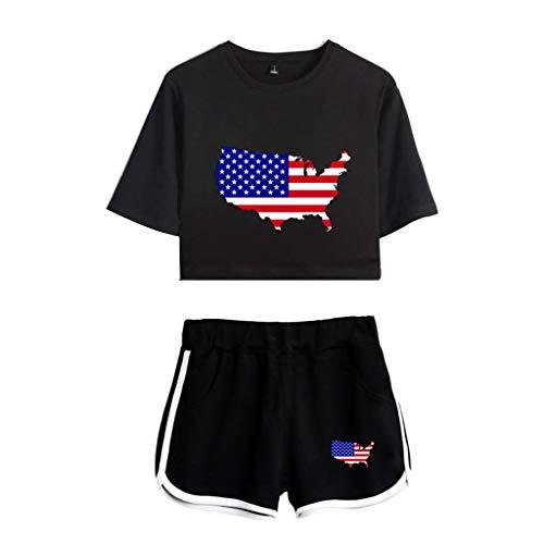 Sunhusing Ladies Star Stripe Printed Flag Print Short Sleeve Top + Elastic Waist Pocket Shorts Two-Piece Set Black