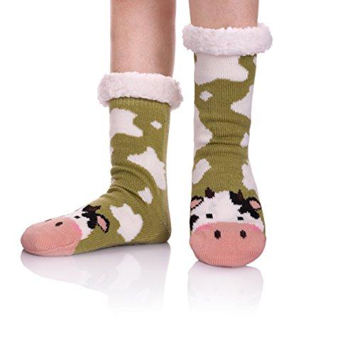 YEBING Women's Cute Knit Cartoon Animal Face Soft Warm Fuzzy Fleece Lining Winter Home Slipper Socks (Green/Cow)