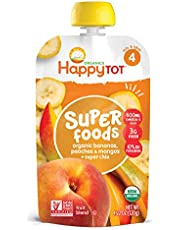 Happy Family - USDA Organic Stage 4 Baby Food Contains Banana Peaches Mango Super Chia Resealable Pouch Non GMO Gluten Free - 120g