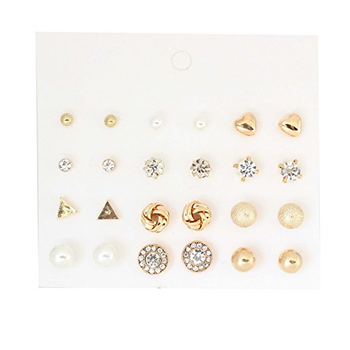 5dad71535 Amazon.com: Gome-z Korea Style 12 Pairs Sets Round Square Ball Alloy  Crystal Stud Pearl Earrings For Women Hot-selling Cute Stud Earring Silver:  Jewelry