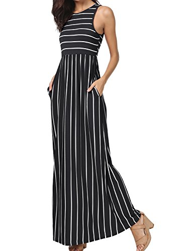 levaca Womens O Neck Striped Loose Swing Tank Maxi Dress with Pockets Black M