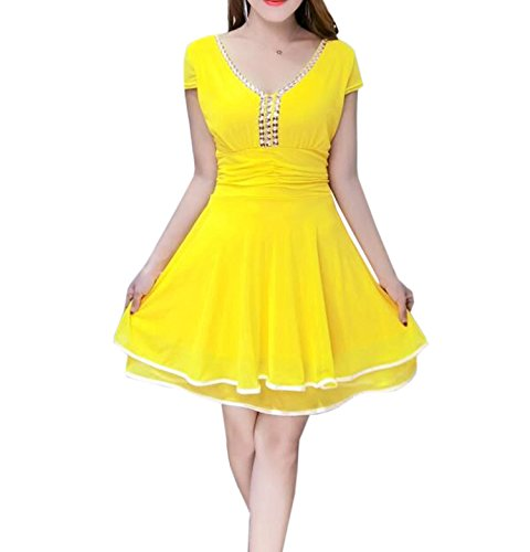50694c1032a4 Yue Lian Damen Eleganz V Ausschnitt Kurzarm Skterkleid mit Strasssteinen  Minikleid Cocktailkleid Gelb d6Y2eGU5