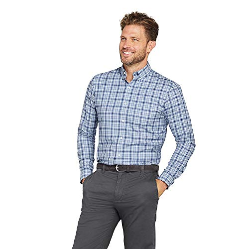 Lands' End Men's Traditional Fit No Iron Twill Shirt, XL, Mountain Sky Tattersall -