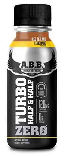 American Body Building Turbo Tea Zero, Iced Tea Flavored Supplement, Caffeine with Zero Sugar and Zero Carbs, Half & Half Tea Flavored, Ready to Drink 18 oz Bottles, 12 Count