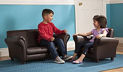 Melissa & Doug Child's Armchair - Coffee Faux Leather Children's Furniture