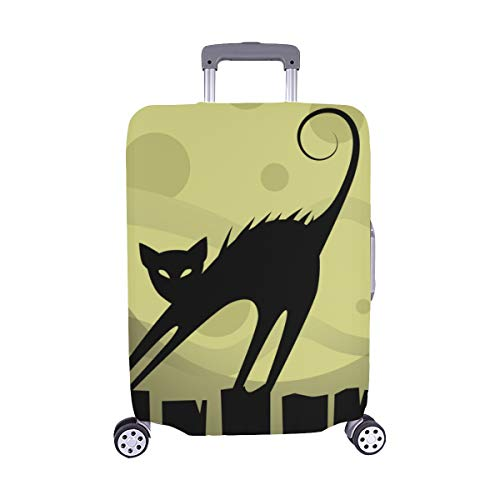 Cat On The Roof At Night Moon Spandex Trolley Case Travel Luggage Protector Suitcase Cover 28.5 X 20.5 Inch(only Dust Cover) -