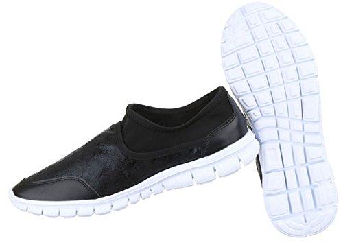 Damen Halbschuhe Schuhe Mokassin Flats Slipper Schwarz Grau 36 37 38 39 40 41 Schwarz