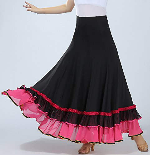 Competition Dancewear Flamenco Costume Skirt Practice Adult Party Pink Ballroom Dress 00qfEa