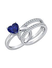 3.00 ct.tw Heart Shaped Created Blue & White Sapphire 14K White Gold Plated Enhancer Wedding Set