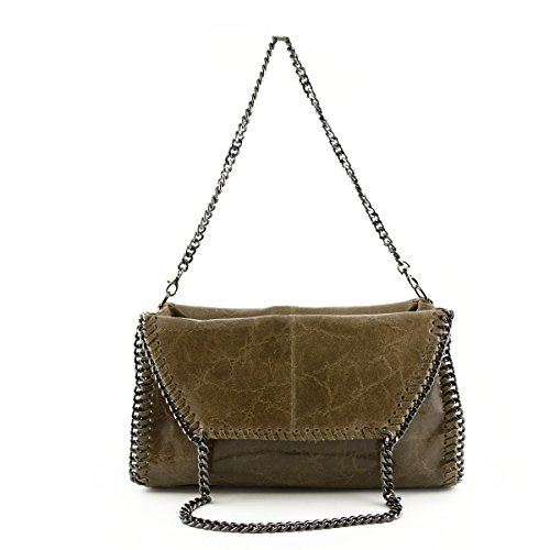 Borsa Donna In Pelle A Tracolla Colore Taupe Scuro - Pelletteria Toscana Made In Italy - Borsa Donna