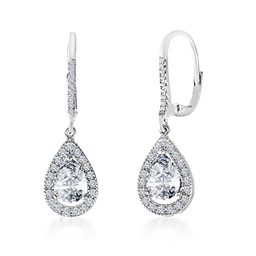 (INSPIRED BY YOU. Rhodium Plated Sterling Silver Pear Shaped Cubic Zirconia Drop Dangle Leverback Halo Earrings for Women)