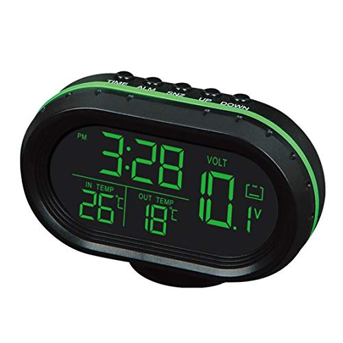 DDyna Multi-function Car Temperature Clock Voltmeter Car Thermometer Electronic Clock Car Night Light Clock Supplies…
