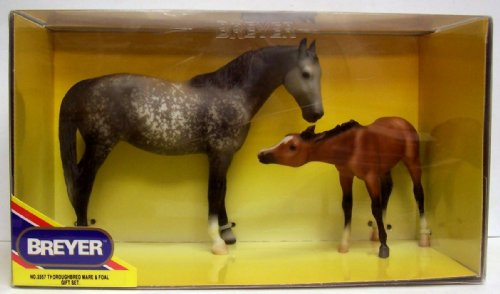 Breyer Foals Fun (Breyer #3357 Thoroughbred Dapple Rose Gray Mare and Bay Foal Collectible Horses)