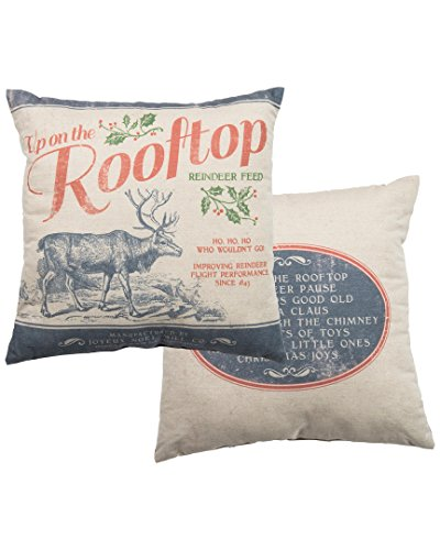 Christmas Reindeer Large Canvas Pillow Primitives by Kathy Rooftop Feed