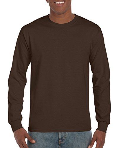 Gildan Men's Ultra Cotton Long-Sleeve T-Shirt, Dark Chocolate/Large