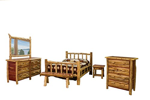 Red Cedar Log Beds - Furniture Barn USA Rustic Red Cedar Log Mission Style King Bed with Double Side Rail Bedroom Set