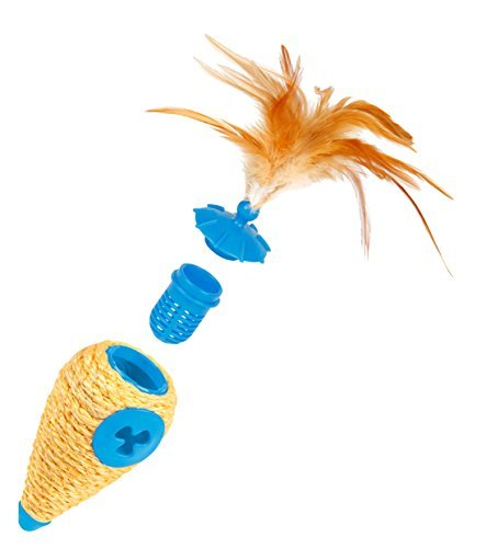 Carrot Roll Play 3 in 1 Catnip Holder, Treat Dispenser, and Sisal Scratcher Cat Toy Blue