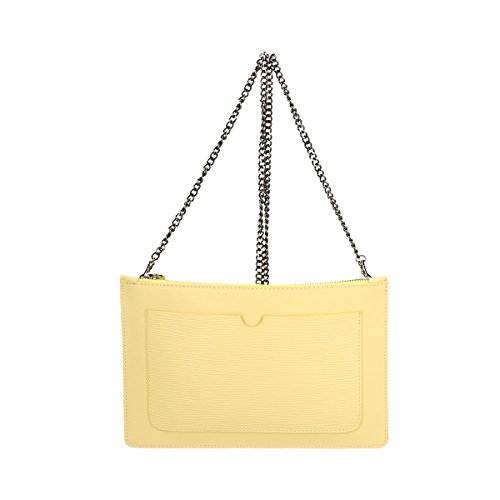 genuina Amarillo Bolso Borse 28 Piel de x Cm Chicca hombro 5 2 de 18 x xY64ga5Wn