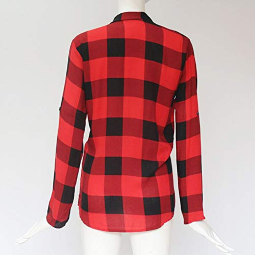 Taille Blouse Masterein col Overs Ample en V Femme Top Plaid Femmes Stand rouge Col Plus 010Bv
