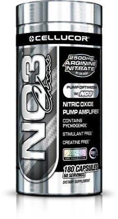 Cellucor NO3 Chrome | Supplément d'oxyde nitrique et de créatine Stimulant gratuit | 180 capsules