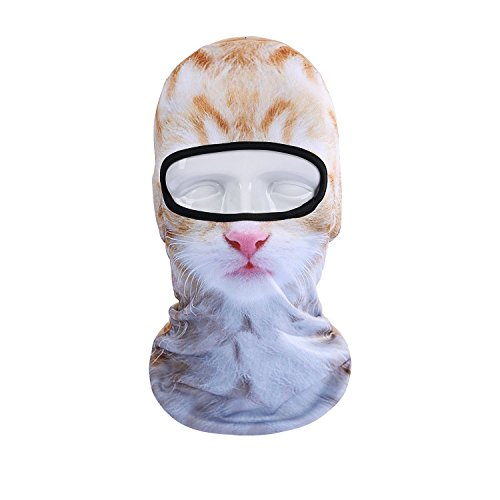 Qinglonglin Animal Balaclava Full Face Mask Cycling Motorcycle Head Hood Cute Party Cat Dog Halloween Cosplay (Cat Dog Halloween)
