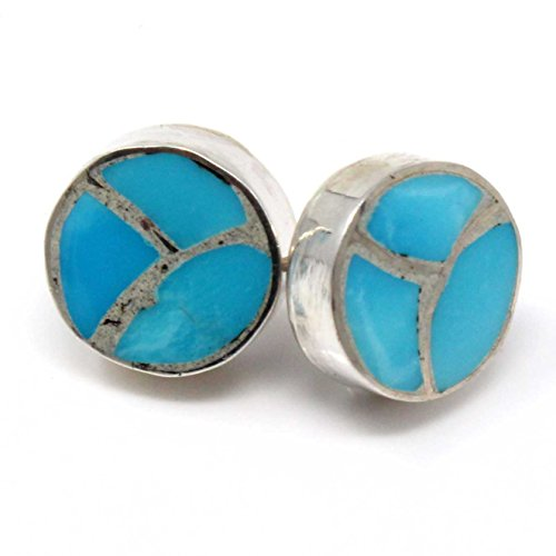 - Zuni Turquoise Inlay Earrings Handcrafted by Zuni Artist Johnson 3/8