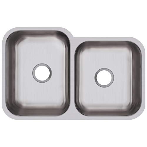Elkay DXUH312010R Dayton Offset Double Bowl Undermount Stainless Steel Sink ()