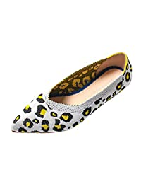 Jesper Womens Ladies Cheetah Pointed Toe Shallow Mouth Flats Breathable Work Shoes Loafers